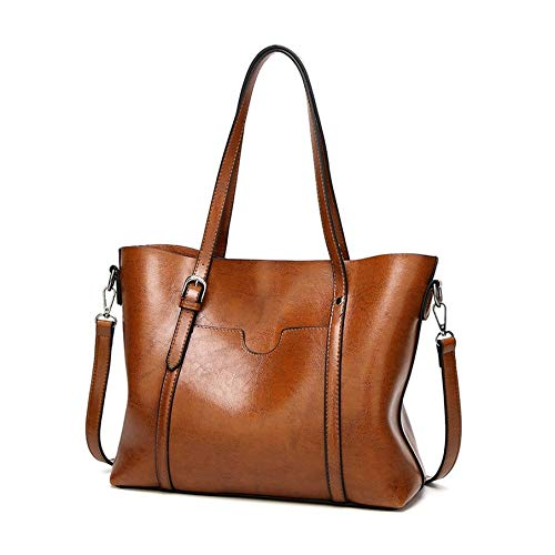 6d15070700dc KNOSSOS Women Oil Wax PU Leather Handbags Fashion Tote Large Capacity  Shoulder Bag