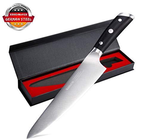 Rackaphile - coltello da cucina, professionale 20 cm, clotello da chef/verdura in acciaio inossidabile, multiuso/ergonomico manico/precisione di taglio, verificato da fda e lfgb, colore nero