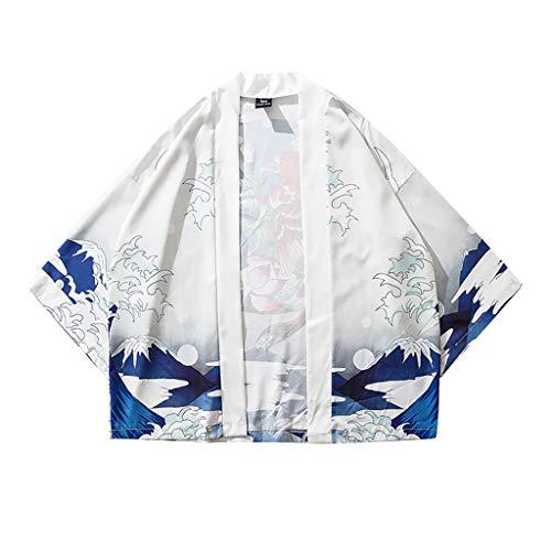 Luckycat Sommerjacke Mantel Mode Japanische Haori Herren Oberbekleidung Strickjacke Paar Kimono Jacket Lässige Hippie Kleidung 3/4 Ärmel Herren Japan Happi Kimono Haori Jacke Übergangsjacke Mäntel