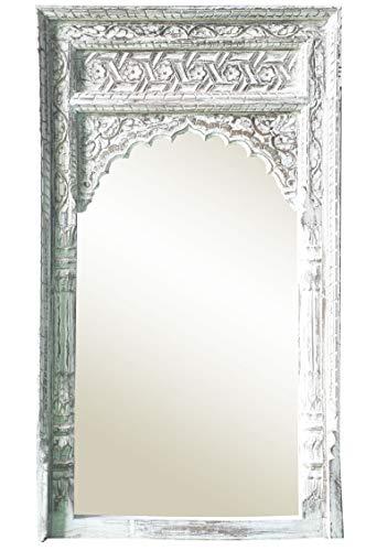 Marrakesch Inara - Espejo de Pared 122 cm, con Marco de Madera, diseño Oriental, Color Blanco