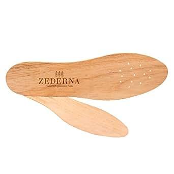 ZEDERNA Semelles en Cèdre Originales - confortables, naturelles et très efficaces contre la transpiration excessive- ainsi que les mauvaises odeurs de pieds! Rendent vos pieds sains et frais - Taille 35 - cèdre/marron