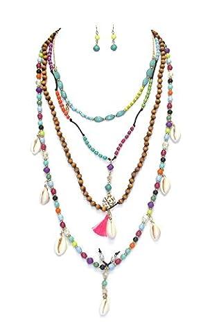 Boho schmuckanthony Ethno Chic Parure Collier et boucles d'oreilles perles bois coquillage cristal acrylique à 4rangées/multicolore