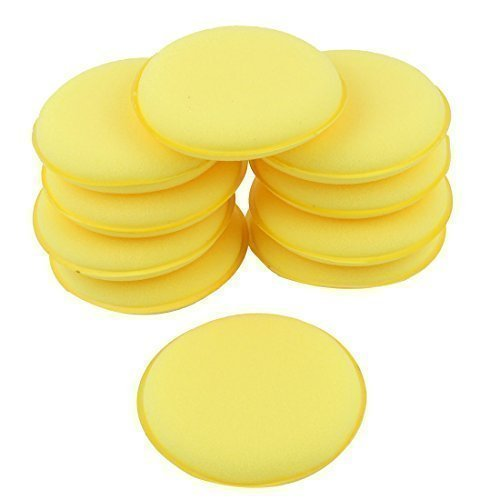sourcingmapr-10-pcs-round-shaped-4-inch-dia-sponge-wax-applicator-pads-yellow
