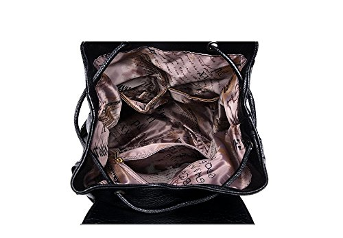 Flada, Borsa a zainetto donna nero Black medium Bronze