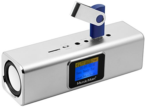 Musicman MA Soundstation Stereo-Lautsprecher mit integriertem Akku und LCD Display (MP3 Player, Radio, MicroSD Kartenslot,USB Steckplatz) - Wecker Ipod-lautsprecher Radio