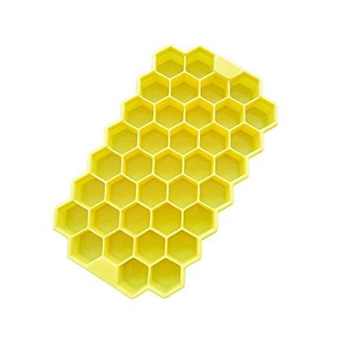 Silikon Honeycomb Eiswürfel in Ice machen Form mit 37Fächer Küchenutensilien gelb (Küchenutensilien Gelb)