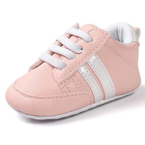 Turnschuhe Babyschuhe Neugeborenen Leder T-Strap Schuhe Sportschuh Jungen Lauflernschuhe Mädchen Krippeschuhe Krabbelschuhe Streifen-beiläufige Wanderschuhe LMMVP (Rosa 1, 13CM (12 ~ 18 Monate))