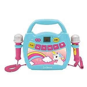 LEXIBOOK Unicornio, Mi Primer Reproductor Digital Bluetooth con 2 micrófonos, inalámbrico, función Grabar, Puerto USB, AUX-IN, SD/TF, a Partir de 3 años, Azul/Rosa MP300UNIZ, Color
