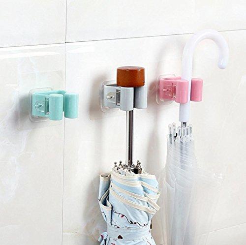 Sensail Support de Rangement Mural, Mur Monté Mop Parapluie Titulaire Brosse Balai Hanger Rangement Rack Cuisine Outil (B, 7 x 7cm)