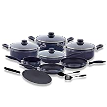 Royalford RF5858 Cookware Set, 12 Pieces, Scratch Resistant, Tempered Glass Lids, 2.5mm Body Thickness, Bakelite Knobs and CD Bottom, Blue, W 60.8 x H 37.0 x D 21.8 cm, Aluminium