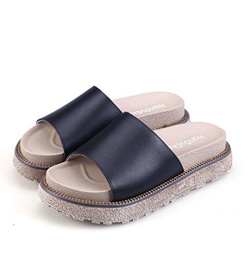 Damen Bequeme Pantoletten Leichtgewicht Atmungsaktiv Soft GummiAußensohle  Sommer Pantoffeln Schwarz