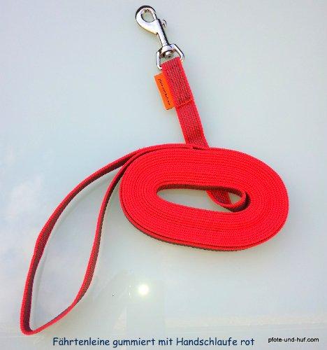 Artikelbild: elropet Gummierte Hundeleine Fährtenleine Schleppleine 15m mit Handschlaufe rot