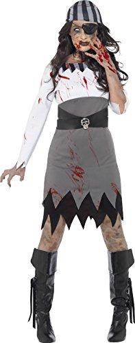 Smiffy's 45525X1 - Damen Zombie Piratin Kostüm, Kleid, Kopftuch und Augenklappe, Größe: 48-50, grau