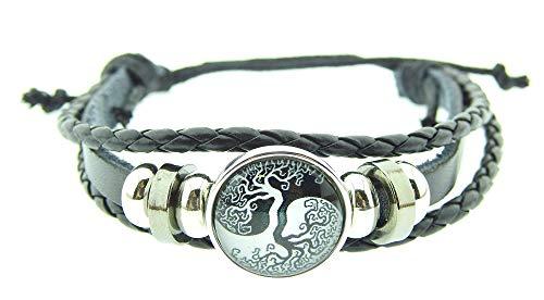 Lovelegis Armband für männer und Frauen - Herrenarmband - Damenarmband - Herren - Damen - Yin Yang - Tao - Multithreading - Verstellbar - Schwarz - Baum des Lebens