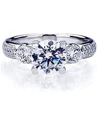 Damen-Ring / Verlobungsring - 925 Sterling Silber - Zirkonia 2 ct Drei Stein