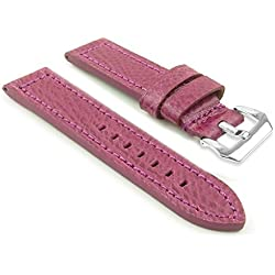 DASSARI Baron Textured Grain Purple Leather Watch Strap Band w/ PVD Polished Steel Buckle 26mm