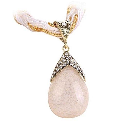 Liquidazione offerte, fittingran regalo romantico della catena del pendente della collana dei gioielli della boemia dei gioielli di vetro d'annata delle donne (bianca)