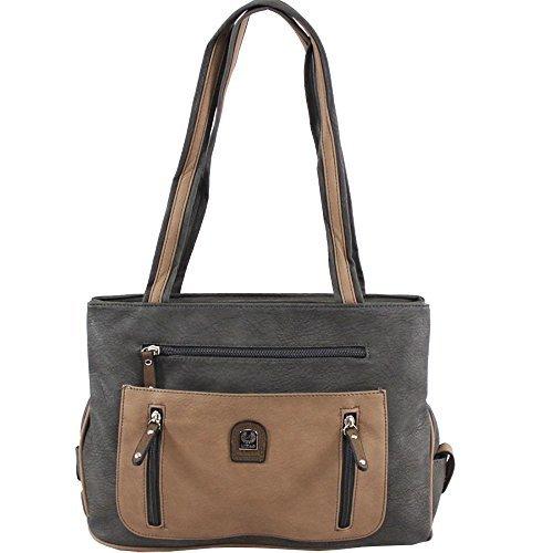 Haute For Diva S Borsa A Spalla Grande Tote Bag In Ecopelle Nuova - Grigio / Taupe, Large Grey / Taupe