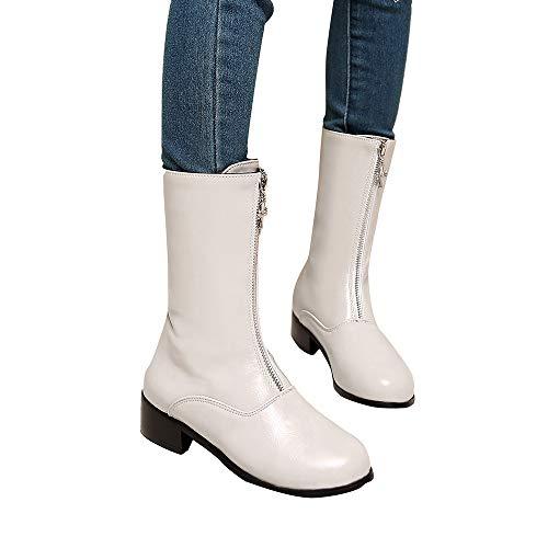 OSYARD Damen Schlupfstiefel Halbschaft Stiefel Chelsea Boots Schneestiefel Rain Boot, Frauen Freizeit Zipper Schuhe Plattform Starke Ferse Rutschfeste Runde Kappe Stiefel (255/42, Weiߠ)