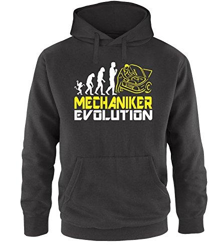 Luckja Mechaniker Evolution Herren Hoodie Schwarz-Weiss/Gelb Grösse M -
