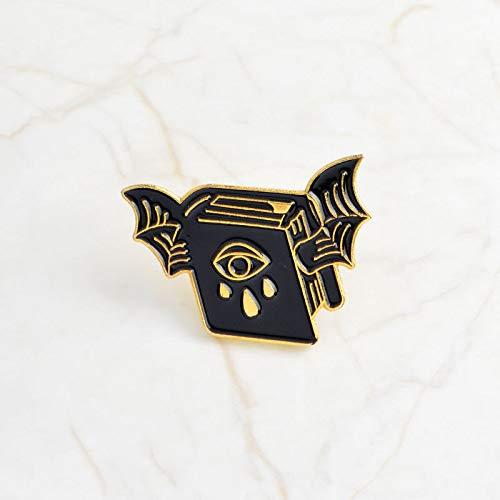 LFDHZ Black Cup Skeleton Schädel Fledermaus PinBrooch Abzeichen Emaille Pin Rucksack Tasche Jacke Zubehör Männer Frauen Brosche Fledermaus