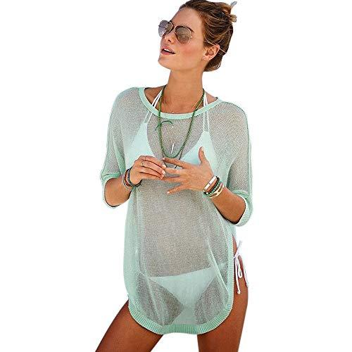 EIN stück Womens Bikini Cover Ups Hohl häkeln sexy durchsichtige Spitze Böhmen Badeanzug für Bademode Strandkleid Badebekleidung (Color : Grün, Size : L) -