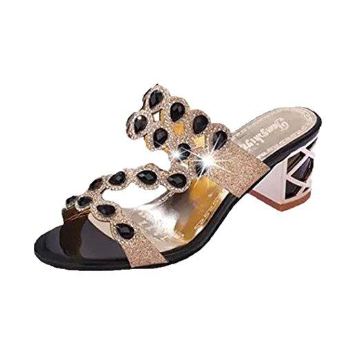 Damen Sandalen,Sannysis Sommer Mode Frauen Mädchen Große Strass High Heel Sandaletten Damen Strand Sandale Flip Flops Bohemia Flach Zehentrenner Sandalen (41, Schwarz)