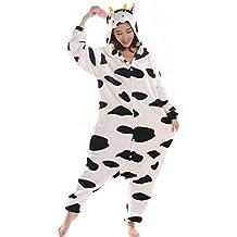 Aivtalk Pijamas de Franela para Hombre Mujer Cartoon Animal Ropa de Dormir Costume Regalo Halloween Carnaval Fiesta Navidad Vaca Ch¨¢ndal Cosplay Una sola pieza XL Estatura 179 -188