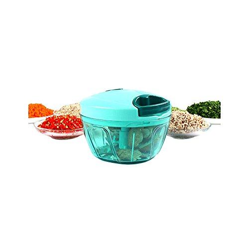 VLUNT Gemüseschneider/Zerkleinerer für Obst und Gemüse, 3 Klingen Multizerkleinerer Universal-Zerkleinerer (Blau)