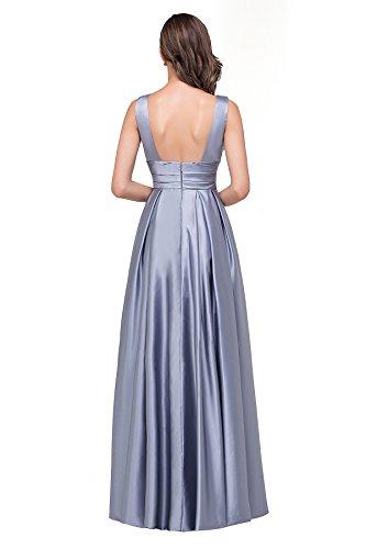 Babyonlinedress Femme Sexy Elegant Robe de soirée/Bal/Cérémonie Longue au sol sans Manche avec Poche en Satin-2 Styles Argenté
