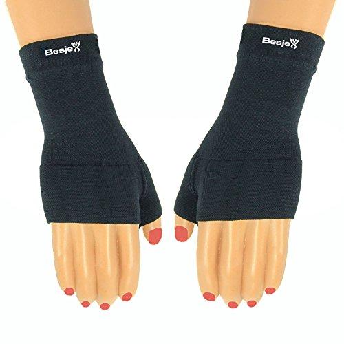 "Besjex â""¢ Compression Wrist Sleeve (1 Pair) for Men & Women - Great for Volleyball, Basketball, Baseball - Satisfaction Guaranteed (Medium, Black)"