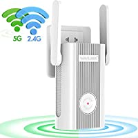 WAVLINK AC1200 WiFi Extender,Dual Band 2.4GHz and 5GHz Available Wireless Range Repeater Signal Amplifier Booster for Home Office with 2 x External Antennas,WPS,DHCP,Online Firmware Upgrade