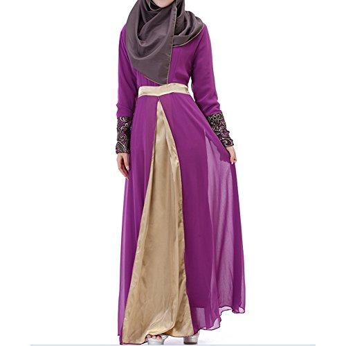 Highdas Frauen Muslim Abaya Kleid Mittlerer Osten Chiffon edle Satin islamische lange Hülse Kaftan Kleidung lila M (Kaftan Satin)