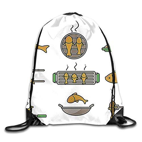 ZHIZIQIU Drawstring Bags Bulk Fish Fry Icons Drawstring Backpack Bag Shoulder Bags Bag for Adult Size: 4133cm
