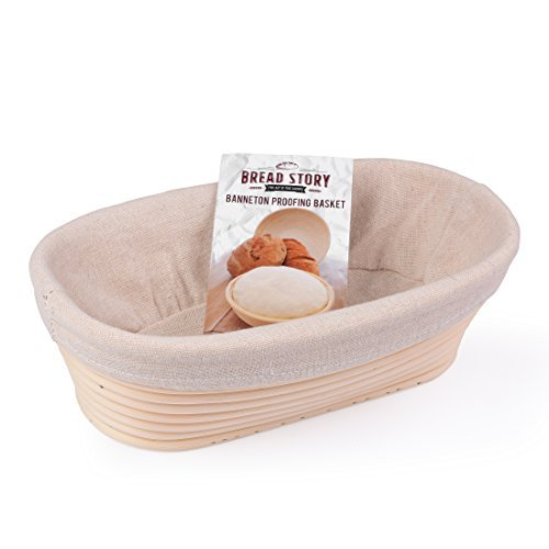 Oval Proofing Basket Set by Bread Story - 10 Inch Oval Banneton / Brotform Handmade Unbleached Natural Cane Bread Baking Kit with Cloth Liner Bread Basket Liner