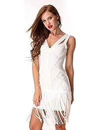 bd2c390725 shengshiyujia Vestido de Noche con Escote de Pico con borlas de Cristal  Vestido de Noche en Blanco y Negro Sin Mangas…