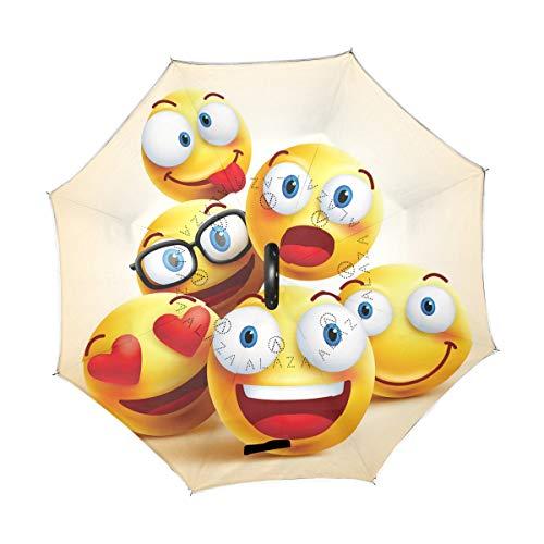 Emoji - Paraguas invertido Plegable Emoticono Amarillo