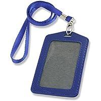 SODIAL (R) 2 Pz Blu Ecopelle Badge ID Carte porta carte verticali laccio