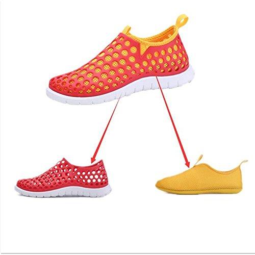 Oriskey Chaussons pour Sport Aquatique Aqua Chaussures nautiques de plage et deau de randonnée pour homme bleu rouge