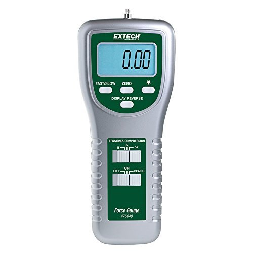 'La Extech 475040y 475044digital fuerza cuchillo tanto dispone de Push y Pull de medición en una variedad de unidades: kilogramos, libras, onzas y Newton. Extech 475040y 475044fuerza cuchillo tienen una precisión de ± 0,4% + 1interfaz digital pa...