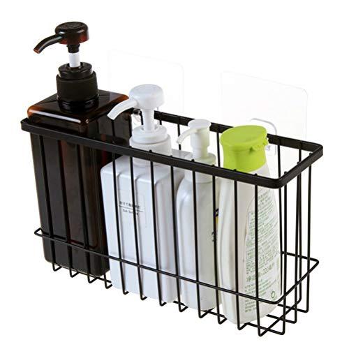 Yardwe Klebstoff Bad Regal Veranstalter Dusche Caddy Küche Lagerregal Wand Montiert Kein Bohren Rostfrei Drahtkorb Duschkörbe -ablagen (Schwarz) -