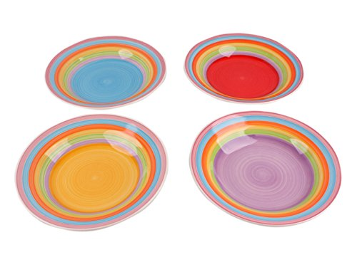 Kombiservice Geschirrset Tafel-Service Porzellan Geschirr Set Tasse Teller BUNT Suppenteller 4er-Set (1 x jede Farbe)