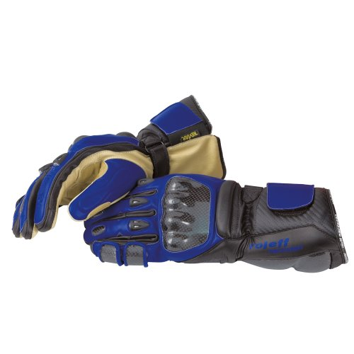Negro L Roleff Guantes para Motoristade Cuero Racewear