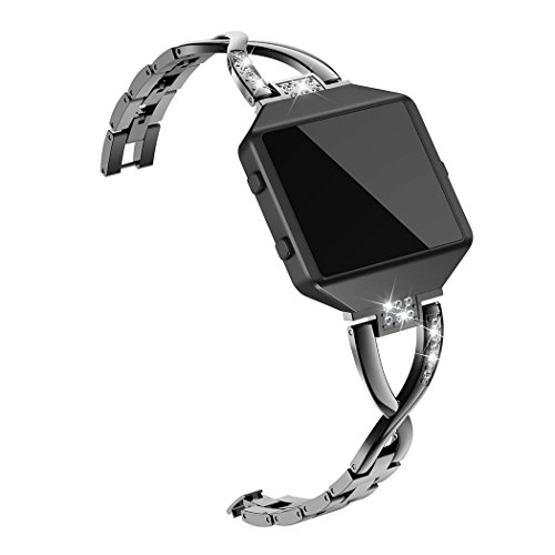 Wearlizer Replacement Fitbit Accessories FBB22 RGold - Wearlizer Replacement Metal Bands for Fitbit Blaze Band for Women with Frame Large Small Accessories Silver Rose Gold Black FBB22-RGold-DE