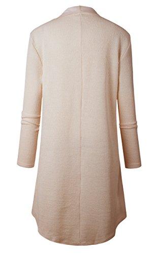 ECOWISH Damen Maxi Offene Cardigan Strickjacke Asymmetrisch Strickmantel Mantel mit Tasche Beige
