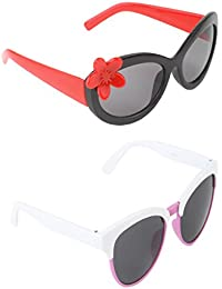 Stol'n Kids Flower And Oval Sunglasses Combo Pack Of 2 Pieces For Girls/Black And Red/White And Pink/Gift Pack