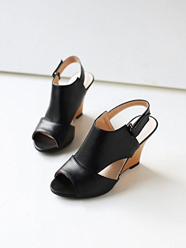 Mee Shoes Damen Peep toe Keilabsatz Klettverschluss Sandalen Schwarz