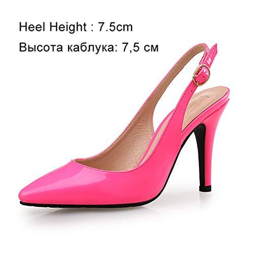 Women High Heels Wedding Pumps Sexy Pointed Toe Casual Female Shoes Fashion Ankle Strap Thin Heels Ladies Shoe New Plus Size DE Pink Shoes 7.5cm 7.5 Nine West T-strap-pumps
