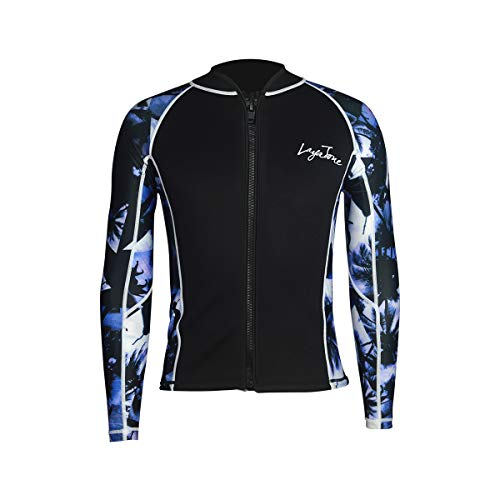 LayaTone Tauchanzug Jacke 3mm Neoprenjacke Wassersport Neoprenanzug Herren Damen Wetsuit Top Rash Guard Surfanzug Saunaanzug (Neoprenoberteil)
