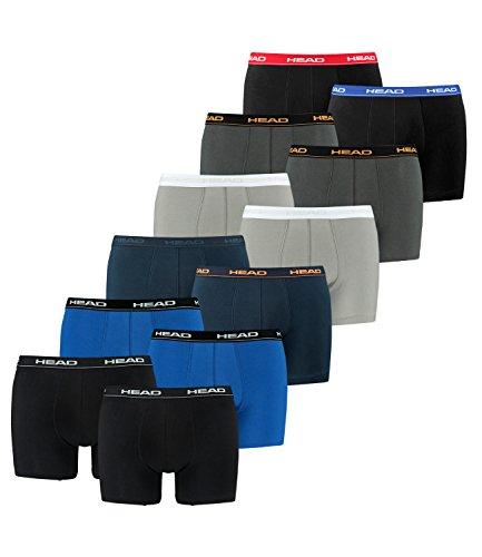 HEAD Herren Boxershorts 841001001 12er Pack, Wäschegröße:M, Artikel:1x2er Schwarz / 1x2er Blue/Black / 1x2er Peacoat/Orange/Navy / 1